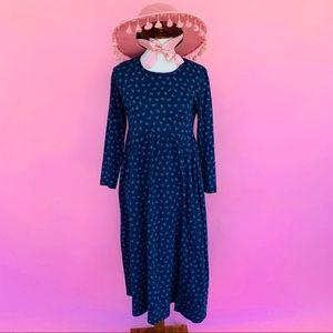 Vtg 90s Flower Cotton Back Button Grunge Dress S M